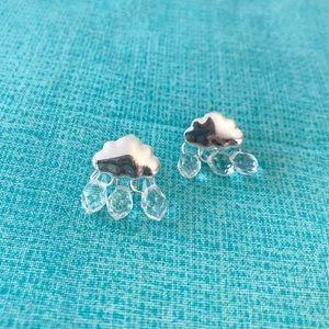 Raincloud Tiny Stud Earrings Silver Raindrops